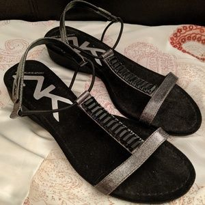 Anne Klein Sexy Black Sequence Strap Sandle Shoes